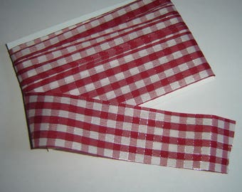 Red and silver GINGHAM Ribbon trim / 3 meters