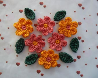 6 flowers pink and orange and 6 green leaves crochet