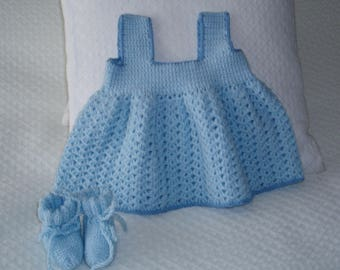 Baby pinafore dress blue hand crocheted acrylic yarn