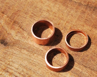 Solid copper toe ring set 3 pieces