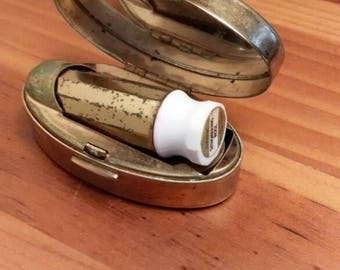 Mother of Pearl brass lipstick case Max Factor. Free Shipping