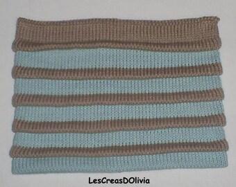 Ice blue knit kids Hat / beige joke