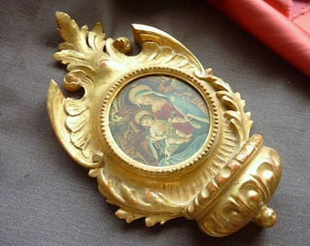 Antique carved gilt wood clam * 21 cm x 12 cm *.