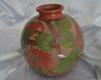 Large round vase with jungle motif