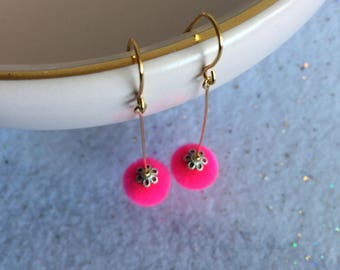 Pink Flower Drops Pompom Earrings