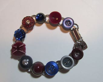 Button Bracelet - Blue and Burgundy