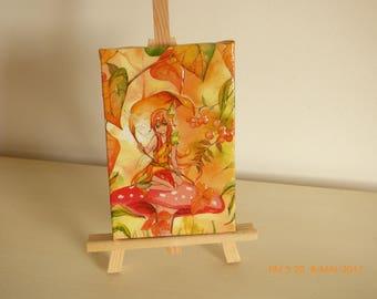 the Orange fairy collage painting