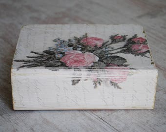 Wooden box with roses, Unique gift, Book box
