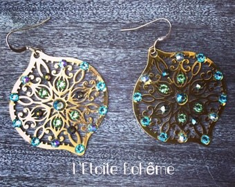 Gold earring yellow Baroque blue and green