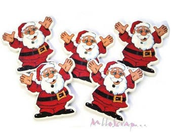 Set of 5 Santa Claus embellishment scrapbooking.* decorated wood buttons