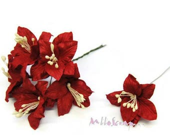 """Lot de 5 fleurs """"Lily"""" rouge avec tige embellissement scrap carte (réf.810).*"""