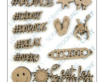 """Set of 13 embellishments with the theme """"holidays"""" wood blank scrapbooking card making *."""