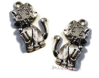 Set of 2 large charms pussies scrapbooking card making embellishment *.