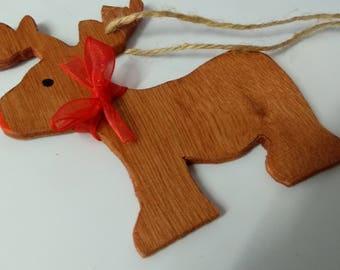 Reindeer handmade wooden Christmas tree decoration