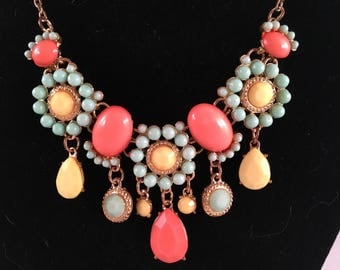 Aqua Stone Bloom Bob Necklace with accent Coral and Yellow
