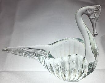 Vintage Murano Glass Swan Ashtray, handblown