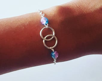 Bracelet silver double ring and beads 2 colors