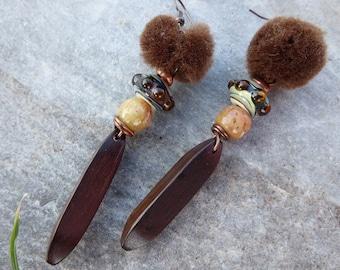 Poetic rustic earrings Lampwork bead - stone-wooden bead tassel