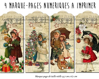 """4 bookmarks numeriues print """"Noël"""", waiting for Christmas pictures"""