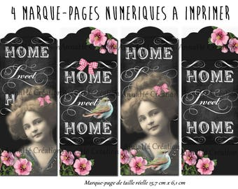 "4 bookmarks digital print ""Home Sweet Home"""