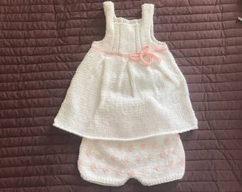 All white and pink dress + bloomer
