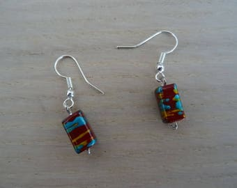 Red speckled earrings