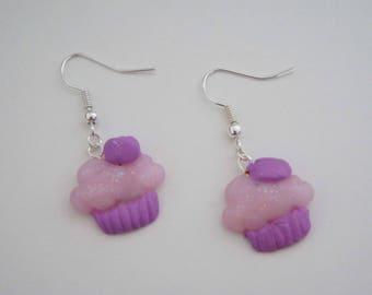 Polymer clay earrings - purple Cupcakes