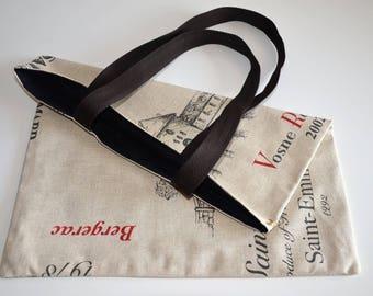 Tote bag, grocery bag, tote bag, cotton, wine, beige