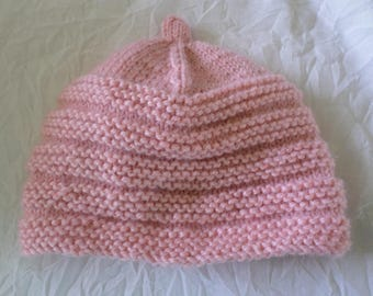 size 3 month hand knit hat girl