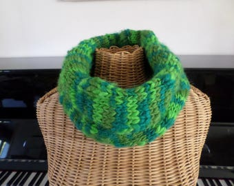 snood knitted with wool in different shades of green