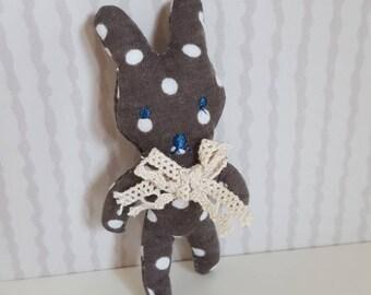 Rabbit brooch made of fabric