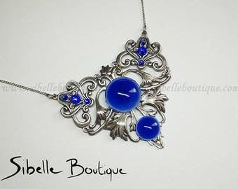 Necklace lysserine blue cabochon (g.c.9-4)