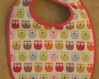Bib 3/6 months Terry multicolored owls collection