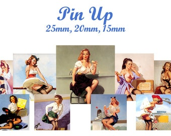 """""""Pinup"""" digital collage sheet for sending MAIL square cabochons"""