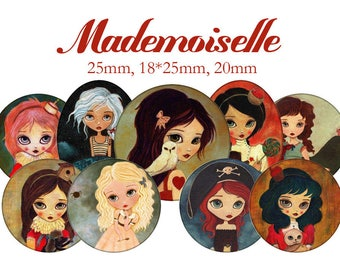 """Cabochons collage sheet / digital """"Mademoiselle, girls, painting, illustration, cute"""" circles and ovlales"""