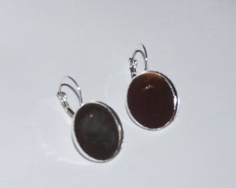 pair of earrings sleepers silver 20mm cabochon