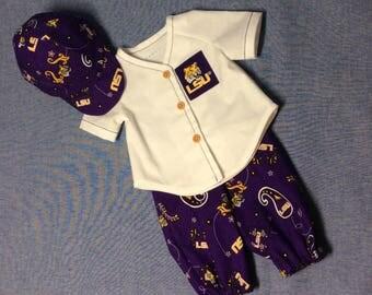 American Girl Doll LSU Tigers softball uniform