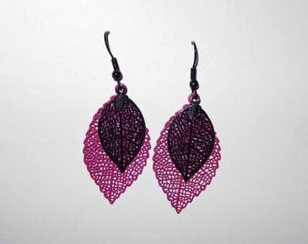 Pink and black fall leaves earrings