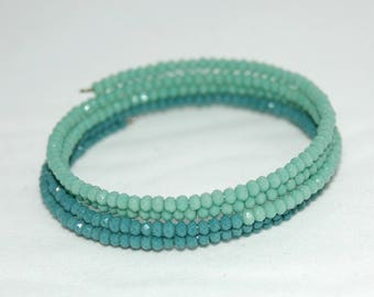 Blue and green memory Wire Bracelet