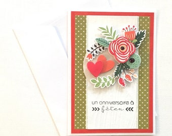 """A birthday"" 3D birthday card for woman - red and green flowers"