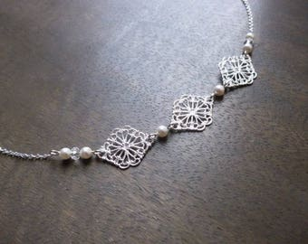 "Wedding silver plated ""Elena"" with swarovski pearls headband"
