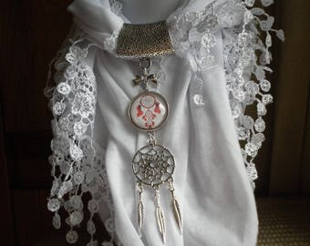 Jewelry scarf look red Dreamcatcher pendant glass cabochon