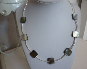 square Pearl natural color beads necklace