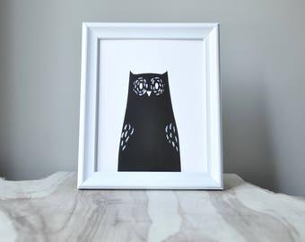 woodland series - owl print