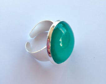 Silver ring green cabochon of water/green turquoise 2cm