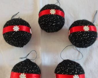 black Christmas balls and Red Ribbon