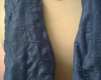 Viscose scarf ruffled blue jean color