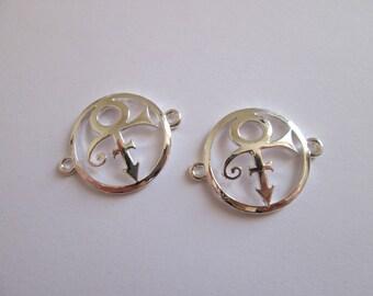 2 connecteur cercle tribal prince en métal argenté 30 x 23 mm