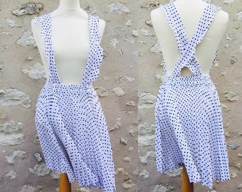 Skirt pleated polka dot with straps