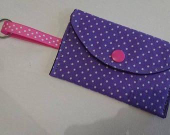 Coin purse Keychain purple dots